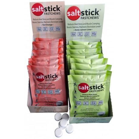 Pack de pastilles electrolyte à croquer SALTSTICK Fastchew - saveur orange - 12 sachets de 10 pastilles
